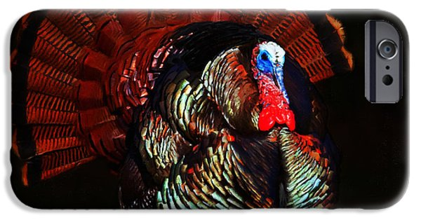 Thanksgiving Digital iPhone Cases - Thanksgiving Turkey - Painterly - Square iPhone Case by Wingsdomain Art and Photography