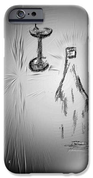Contemporary Abstract Drawings iPhone Cases - That Was Good iPhone Case by John Krakora