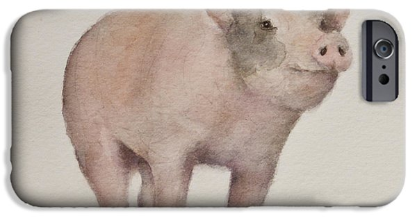 Piglets Paintings iPhone Cases - Thats Some Pig iPhone Case by Teresa Silvestri