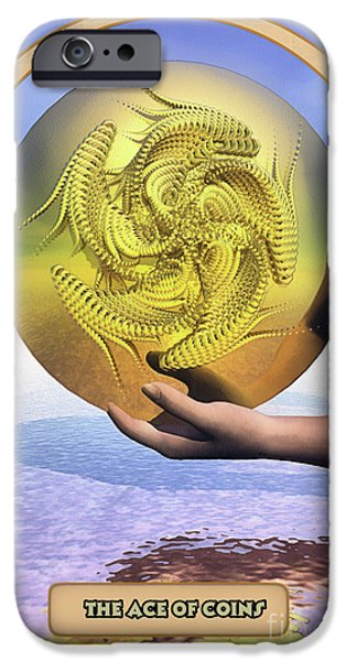 Esoteric iPhone Cases - The Ace of Coins iPhone Case by John Edwards