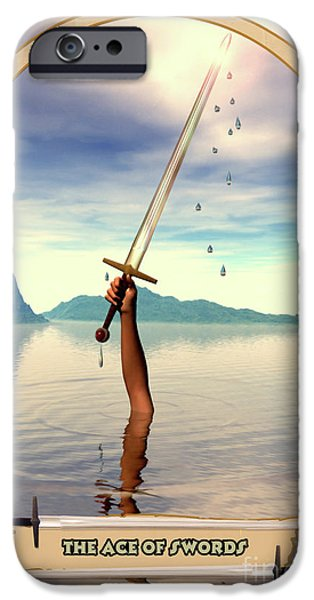 Esoteric iPhone Cases - The Ace of Swords iPhone Case by John Edwards