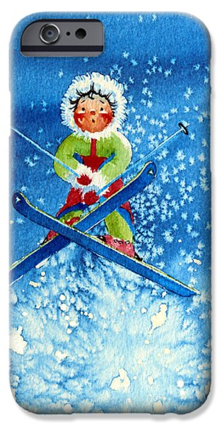 The Aerial Skier - 11 iPhone Case by Hanne Lore Koehler