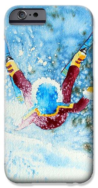 The Aerial Skier - 14 iPhone Case by Hanne Lore Koehler