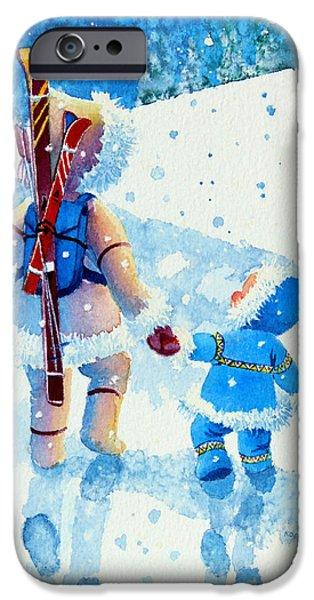 The Aerial Skier - 2 iPhone Case by Hanne Lore Koehler
