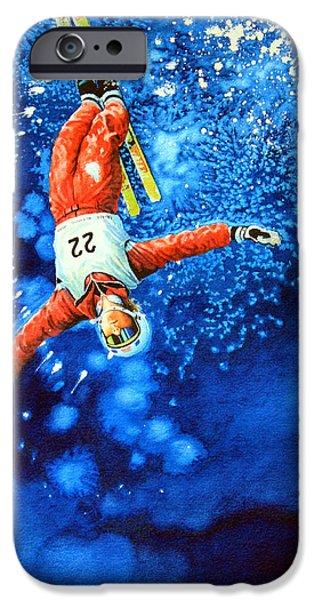 Skiing Posters Paintings iPhone Cases - The Aerial Skier 20 iPhone Case by Hanne Lore Koehler