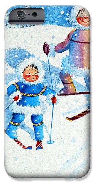 The Aerial Skier - 6 iPhone Case by Hanne Lore Koehler