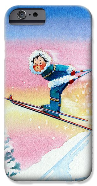The Aerial Skier - 7 iPhone Case by Hanne Lore Koehler