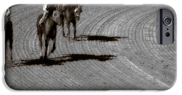 Horse Racing Digital Art iPhone Cases - The After Burn  iPhone Case by Steven  Digman
