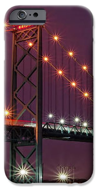 The Ambassador Bridge at Night - USA To Canada iPhone Case by Gordon Dean II