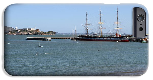 Alcatraz iPhone Cases - The Balclutha . A 1886 Square Rigged Cargo Ship At The Hyde Street Pier Overlooking Alcatraz.7D14068 iPhone Case by Wingsdomain Art and Photography
