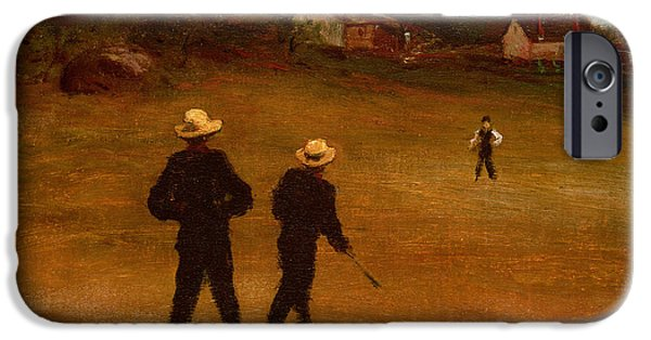 Softball Paintings iPhone Cases - The Ball Players iPhone Case by William Morris Hunt