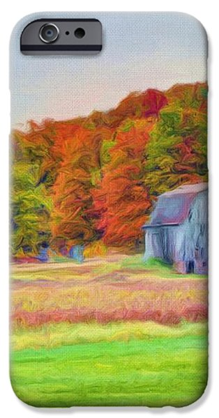 The Barn in Autumn iPhone Case by Michael Garyet