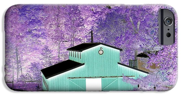 Artists4god iPhone Cases - The Barn Negative Inverted Effect iPhone Case by Rose Santuci-Sofranko