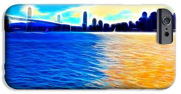 Bay Bridge iPhone Cases - The Bay Bridge and The San Francisco Skyline . Panorama iPhone Case by Wingsdomain Art and Photography