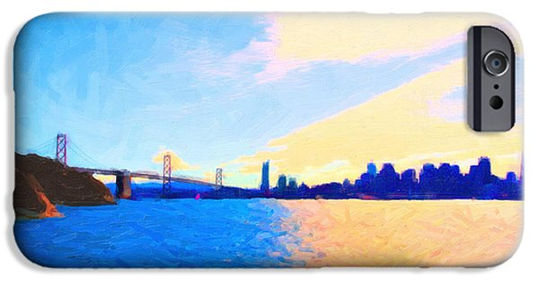 Bay Bridge iPhone Cases - The Bay Bridge and The San Francisco Skyline iPhone Case by Wingsdomain Art and Photography