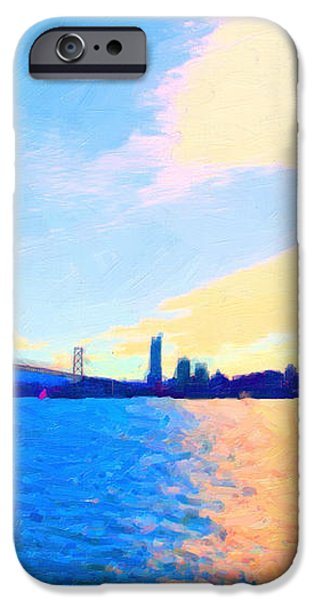 The Bay Bridge and The San Francisco Skyline iPhone Case by Wingsdomain Art and Photography