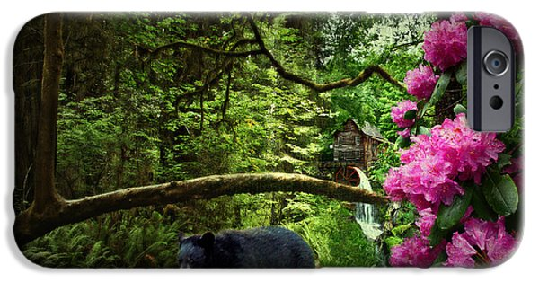 Grist Mill iPhone Cases - The Bear Went Over the Mountain iPhone Case by Lianne Schneider