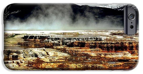 Mammoth Terrace iPhone Cases - The Beauty of Yellowstone iPhone Case by Ellen Heaverlo