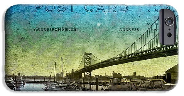 Ben Franklin iPhone Cases - The Ben Franklin Bridge Post Card iPhone Case by Bill Cannon