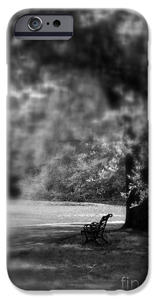 Decorative Benches iPhone Cases - The Bench in the Park iPhone Case by Susanne Van Hulst