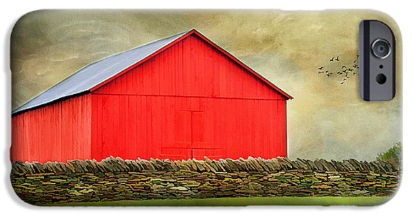 Old Barn Photo Photographs iPhone Cases - The Big Red Barn iPhone Case by Darren Fisher