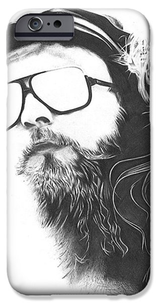 Pen And Ink Pyrography iPhone Cases - The Biker iPhone Case by Cynthia Adams