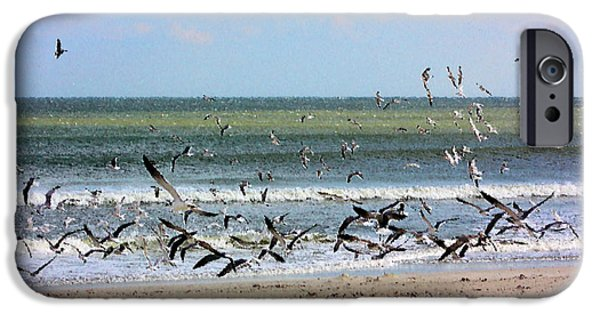 Flying Seagull Mixed Media iPhone Cases - The Birds iPhone Case by Kristin Elmquist