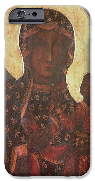 Madonna iPhone Cases - The Black Madonna of Jasna Gora iPhone Case by Russian School