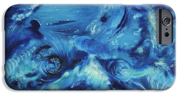 Galactic Paintings iPhone Cases - The Blue Hole iPhone Case by Regina Wirsich Roberts
