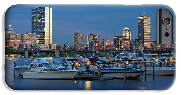 Boston Nightscape iPhone Cases - The Blue Hour iPhone Case by Joann Vitali