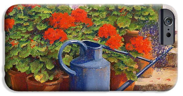 Floral Gardens iPhone Cases - The blue watering can iPhone Case by Anthony Rule