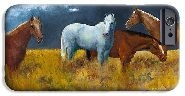 White Horses iPhone Cases - The Calm After the Storm iPhone Case by Frances Marino