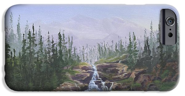 Canoe Waterfall Paintings iPhone Cases - The Canoeist Concern iPhone Case by Kent Nicklin