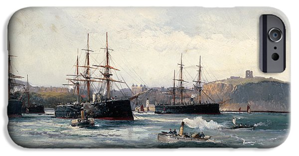 Seacapes iPhone Cases - The Channel Fleet off Scarborough iPhone Case by William Lionel Wyllie