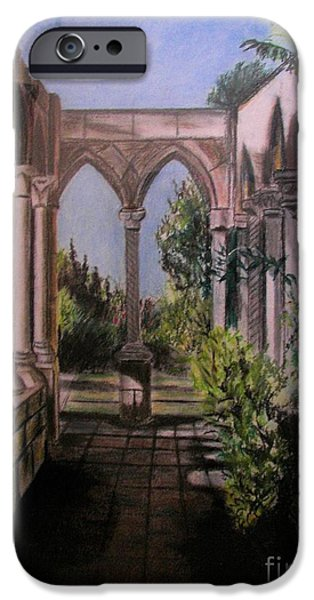 Fauna Pastels iPhone Cases - The Cloisters Colonade iPhone Case by Judy Via-Wolff