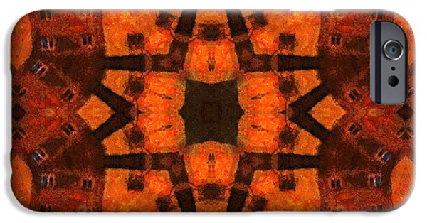 Abstract Digital Mixed Media iPhone Cases - The Color Orange Mandala Abstract iPhone Case by Georgiana Romanovna