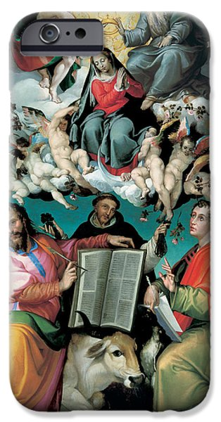 Saint Luke The Evangelist iPhone Cases - The Coronation of the Virgin with Saints Luke Dominic and John the Evangelist iPhone Case by Bartolomeo Passarotti
