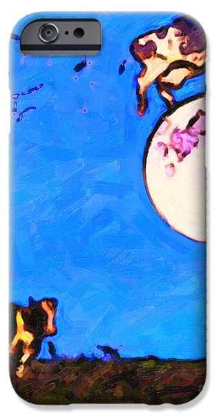 Cow Humorous iPhone Cases - The Cow Jumped Over The Moon . Painterly iPhone Case by Wingsdomain Art and Photography