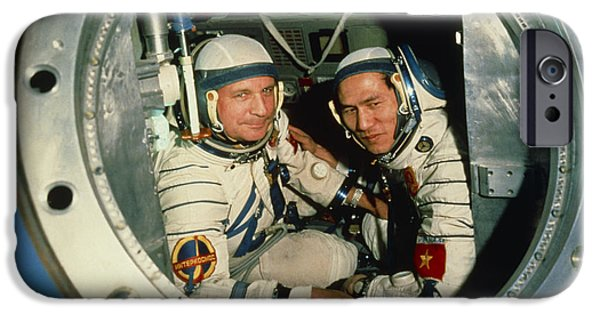 Tuan iPhone Cases - The Crew Of Soviet Spacecraft Soyuz 37 iPhone Case by Ria Novosti