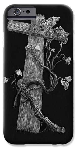 Jesus Drawings iPhone Cases - The Cross and the Vine iPhone Case by Jyvonne Inman