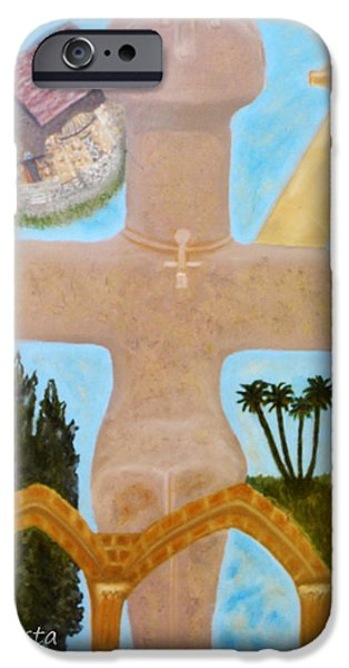 Larnaca iPhone Cases - The Cross-like Idol of Pomos iPhone Case by Augusta Stylianou
