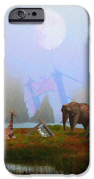 Surrealism Digital Art iPhone Cases - The Day After Armageddon At The San Francisco Zoo iPhone Case by Wingsdomain Art and Photography