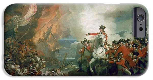 Battery iPhone Cases - The Defeat of the Floating Batteries at Gibraltar iPhone Case by John Singleton Copley