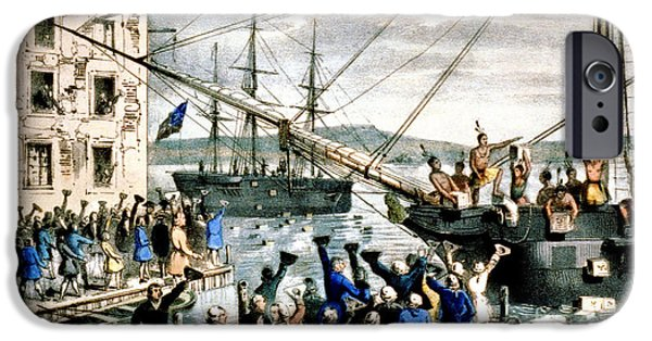 Tea Party iPhone Cases - The Destruction Of Tea At Boston iPhone Case by Photo Researchers