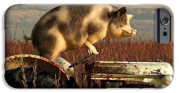 Barnyard Digital Art iPhone Cases - The Dream of a Pig iPhone Case by Daniel Eskridge