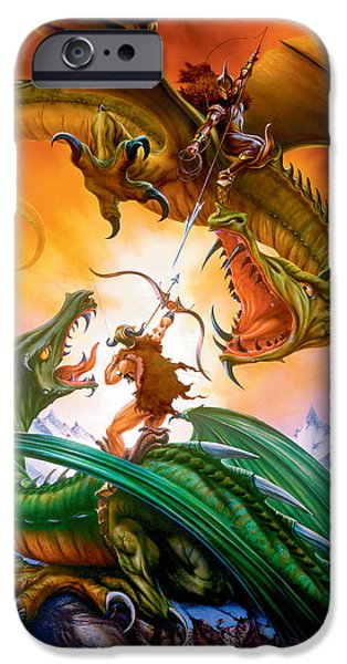 Dragon iPhone Cases - The Duel iPhone Case by The Dragon Chronicles