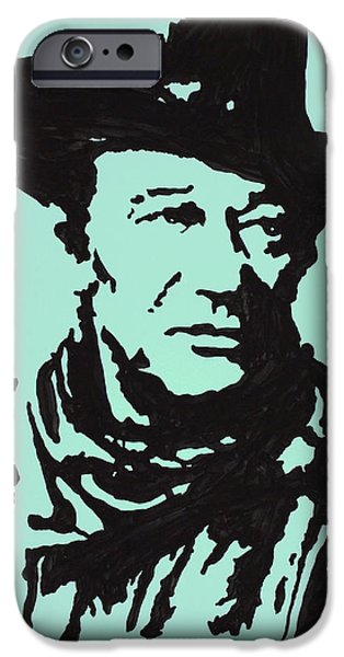 True Grit Drawings iPhone Cases - The Duke In Color iPhone Case by Robert Margetts