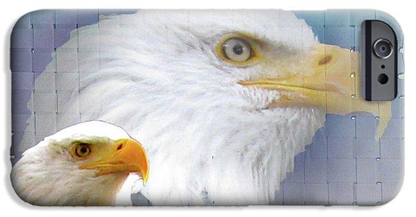 Animal Photograph Mixed Media iPhone Cases - The Eagles Focus iPhone Case by Debra     Vatalaro