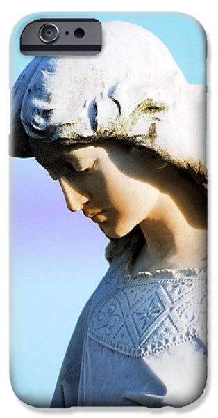 Statue Portrait iPhone Cases - The Face of an Angel iPhone Case by Susanne Van Hulst