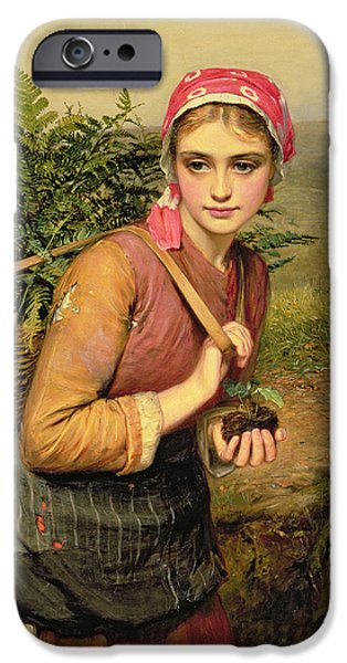 Tree Roots Paintings iPhone Cases - The Fern Gatherer iPhone Case by Charles Sillem Lidderdale